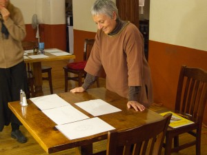 Marcia reviewing drawings