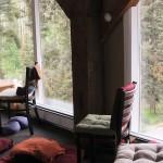 Meditation hall chairs and windows
